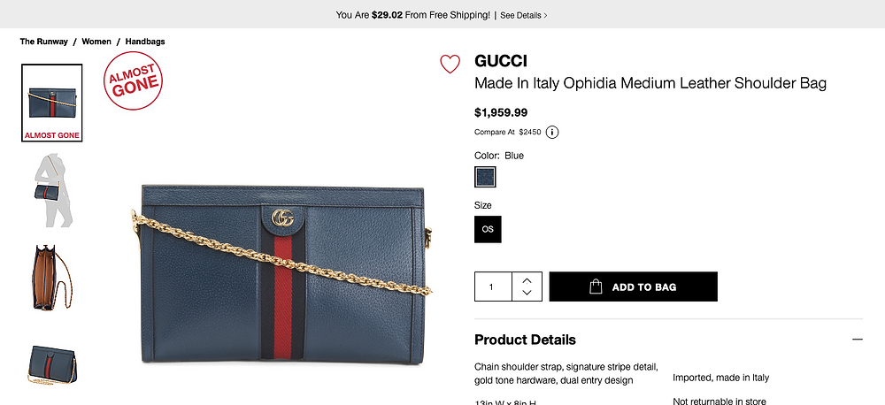 GUCCI Made In Italy Ophidia Medium Leather Shoulder Bag  $1,959.99