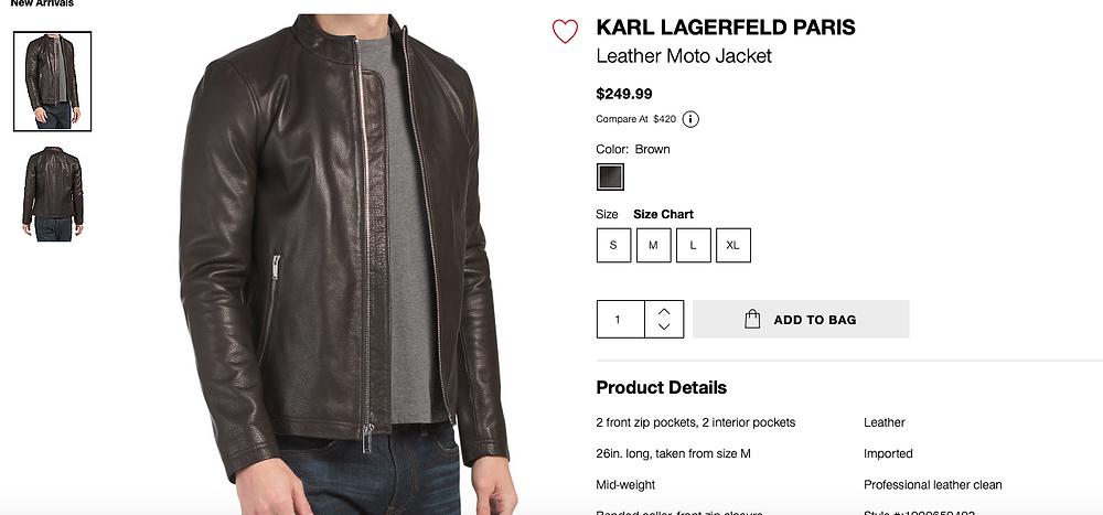 KARL LAGERFELD PARIS Leather Moto Jacket  $249.99