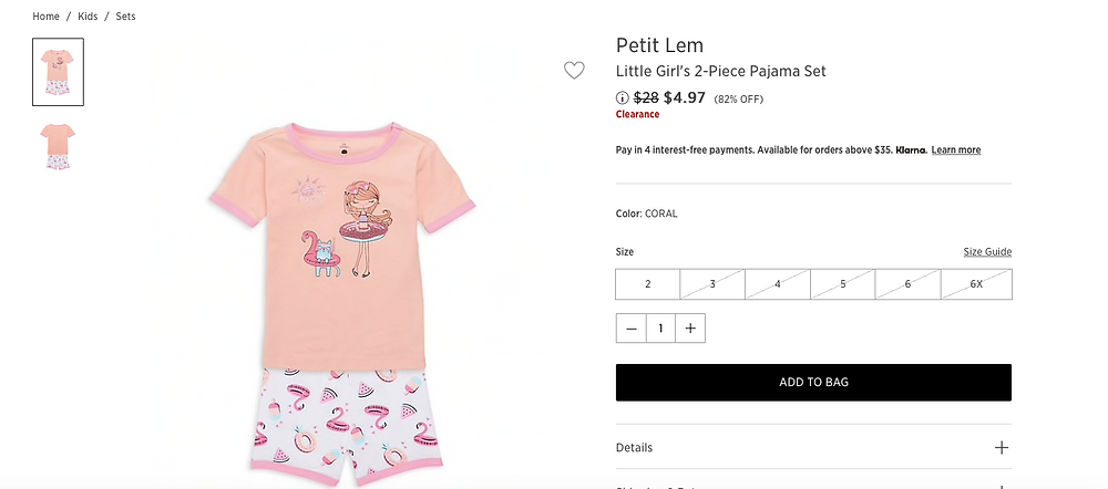 Petit Lem Little Girl's 2-Piece Pajama Set.  $4.97 (82% OFF)