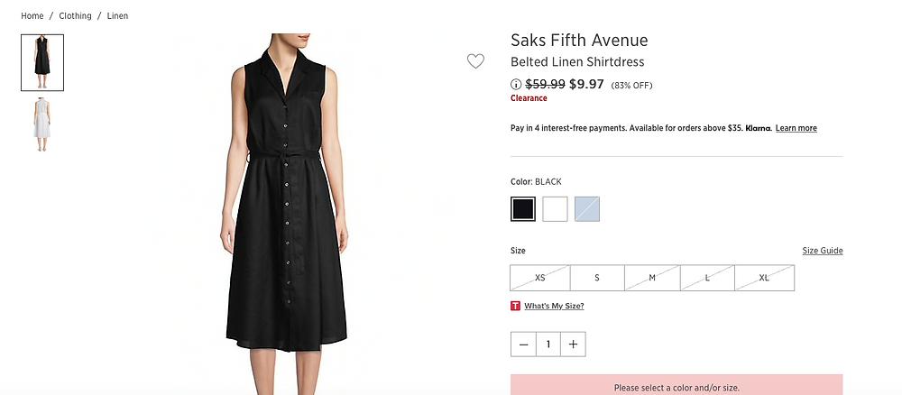 Saks Fifth Avenue Belted Linen Shirtdress  $9.97 (83% OFF)