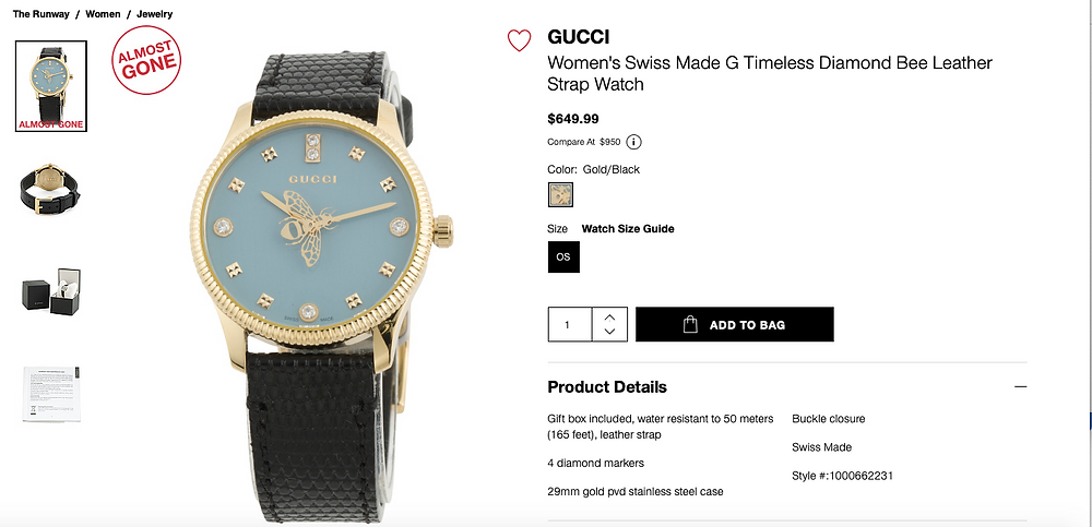 GUCCI Women's Swiss Made G Timeless Diamond Bee Leather Strap Watch  $649.99