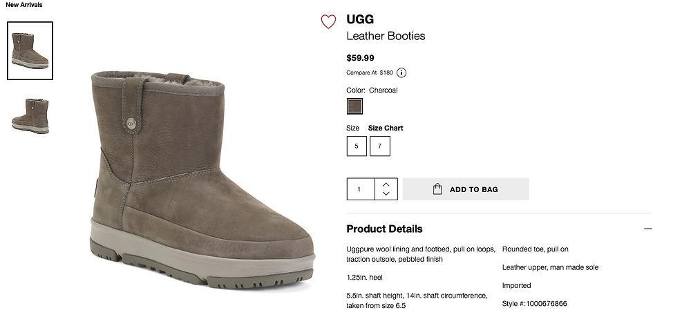 UGG Leather Booties  $59.99