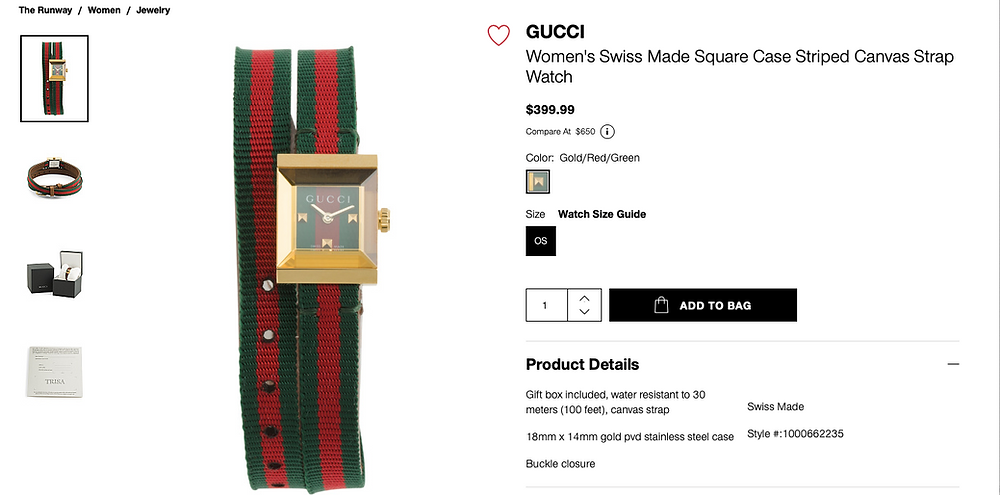 GUCCI Women's Swiss Made Square Case Striped Canvas Strap Watch  $399.99