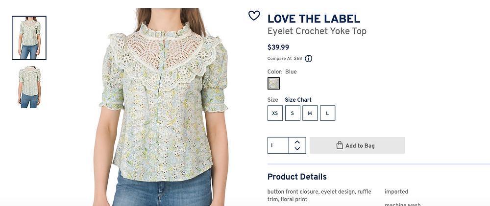 LOVE THE LABEL Eyelet Crochet Yoke Top  $39.99