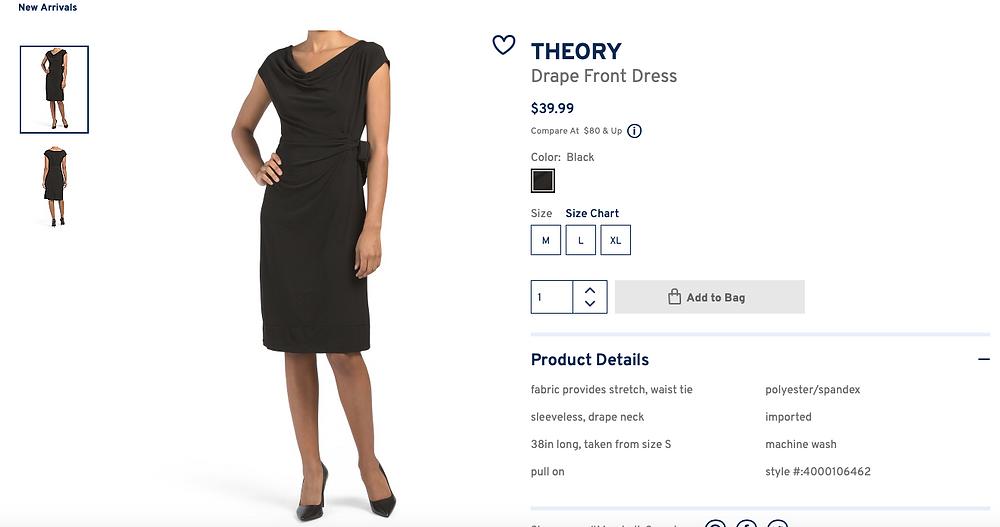 THEORY Drape Front Dress  $39.99