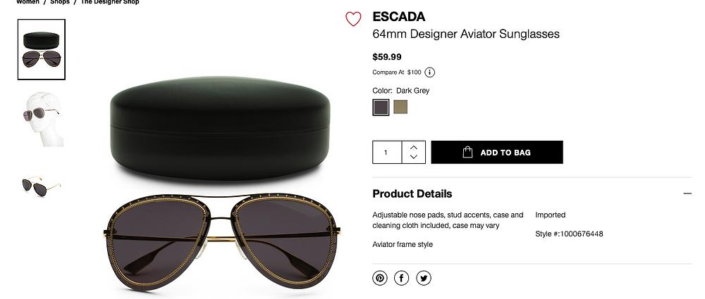 ESCADA 64mm Designer Aviator Sunglasses  $59.99