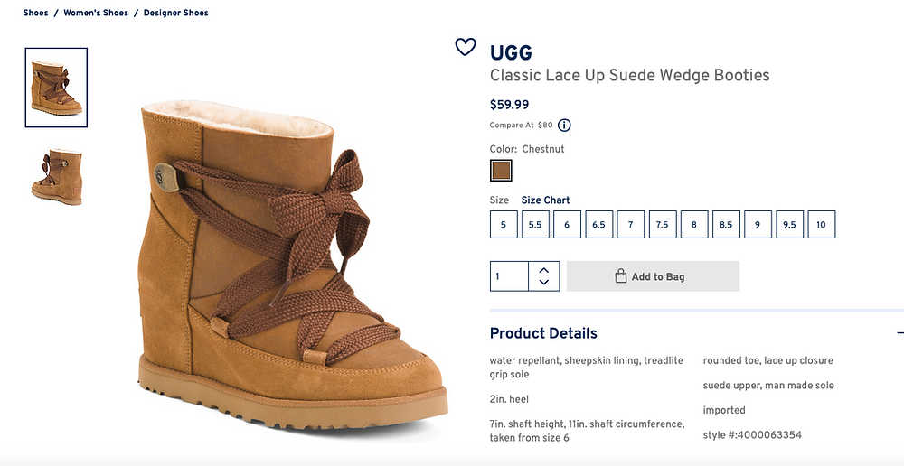 UGG Classic Lace Up Suede Wedge Bootie $59.99