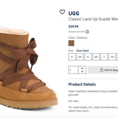 Best Deal On UGG Wedge Boots At Marshalls For $59.99