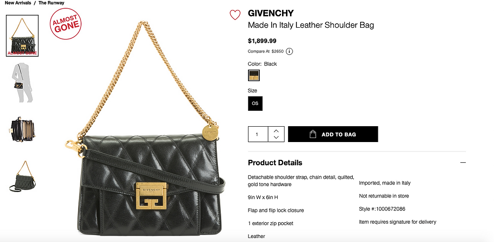 GIVENCHY Made In Italy Leather Shoulder Bag  $1,899.99