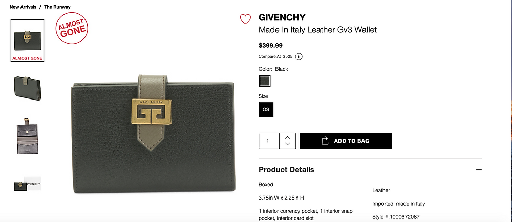 GIVENCHY Made In Italy Leather Gv3 Wallet  $399.99