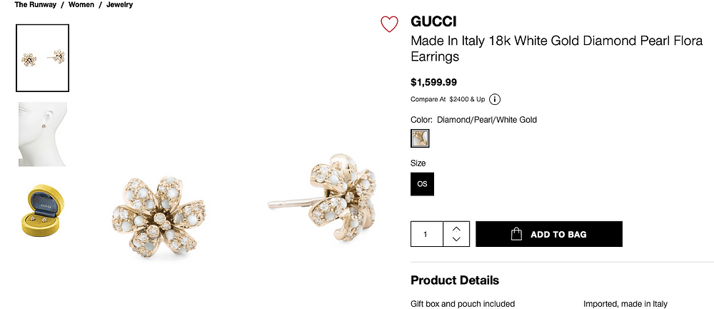 GUCCI Made In Italy 18k White Gold Diamond Pearl Flora Earrings  $1,599.99