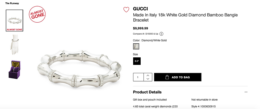 GUCCI Made In Italy 18k White Gold Diamond Bamboo Bangle Bracelet $9,999.99
