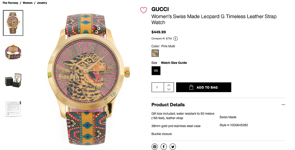 GUCCI Women's Swiss Made Leopard G Timeless Leather Strap Watch  $449.99