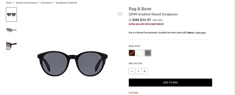 Rag & Bone 52MM Gradient Round Sunglasses
