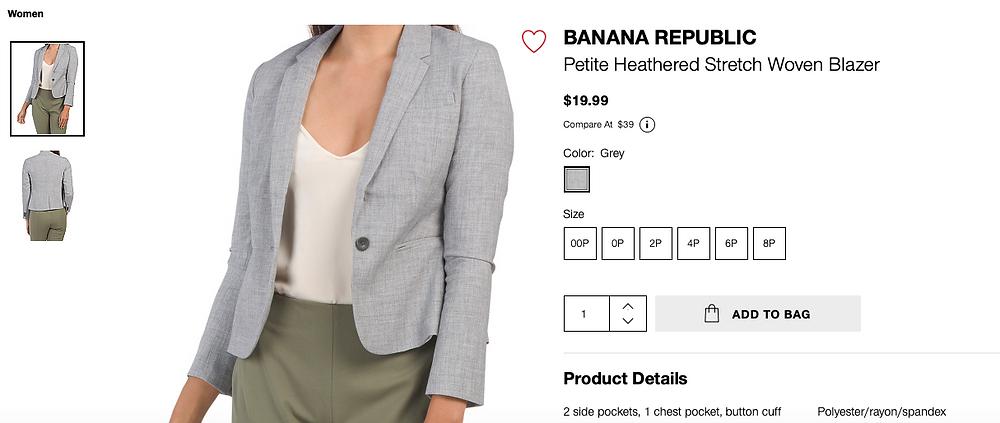 BANANA REPUBLIC Petite Heathered Stretch Woven Blazer  $19.99