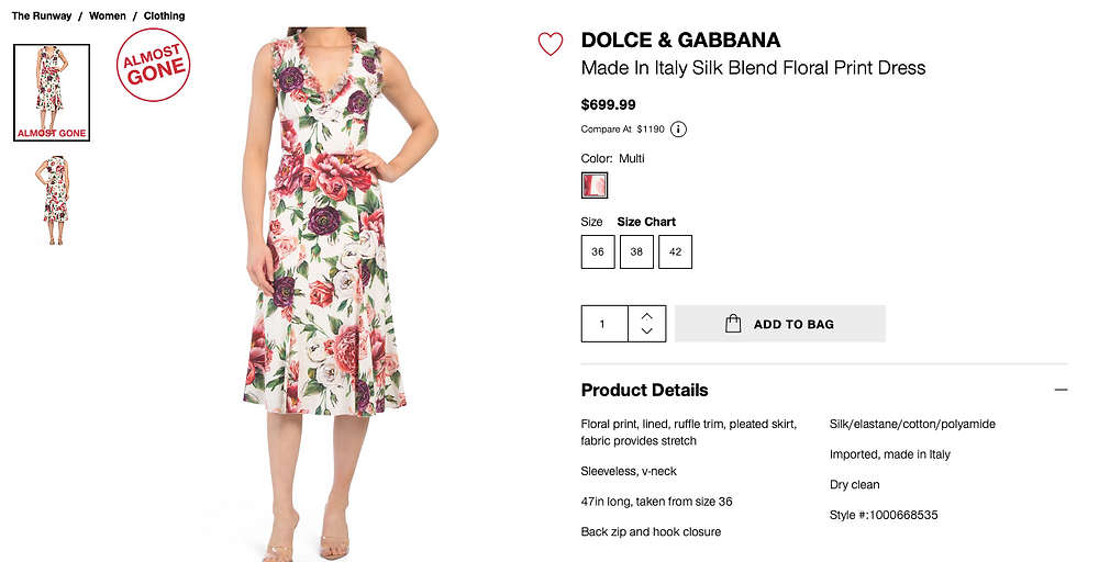 DOLCE & GABBANA Made In Italy Silk Blend Floral Print Dress $699.99