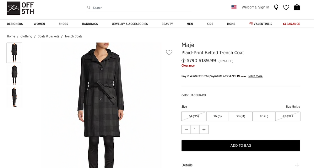 Maje belted trench coat