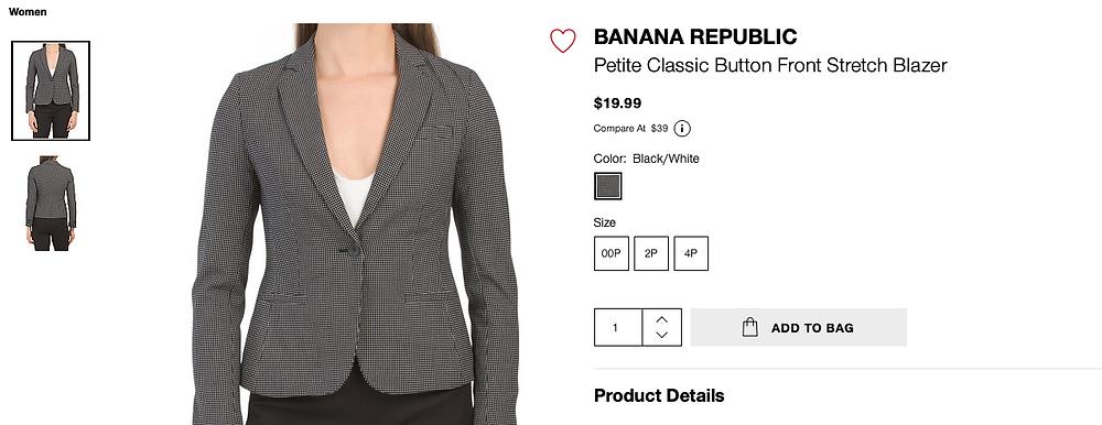 BANANA REPUBLIC Petite Classic Button Front Stretch Blazer  $19.99