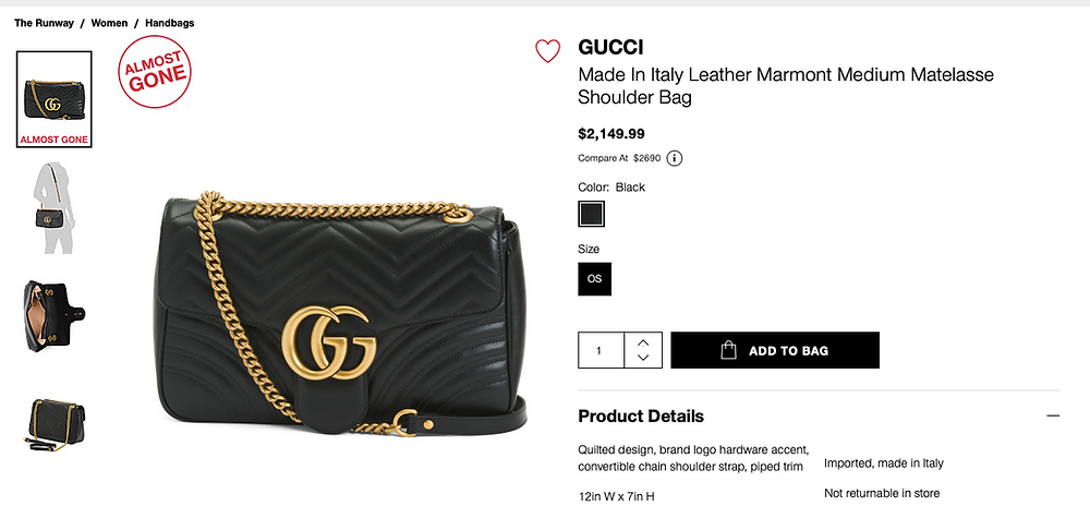 GUCCI Made In Italy Leather Marmont Medium Matelasse Shoulder Bag  $2,149.99