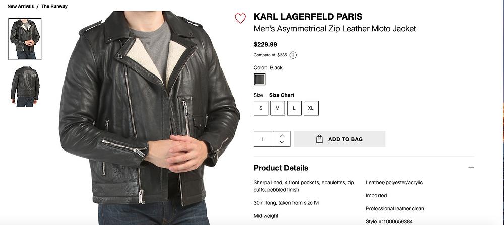 KARL LAGERFELD PARIS Men's Asymmetrical Zip Leather Moto Jacket  $229.99