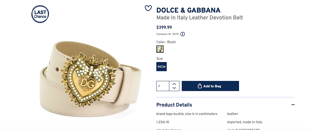 DOLCE & GABBANA Made In Italy Leather Devotion Belt  $399.99