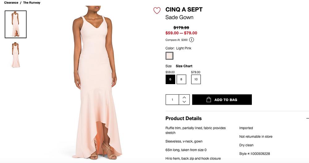CINQ A SEPT Sade Gown  $59.00 — $79.00