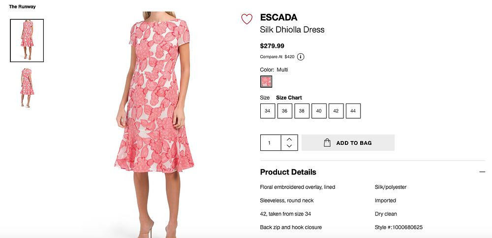 ESCADA Silk Dhiolla Dress  $279.99
