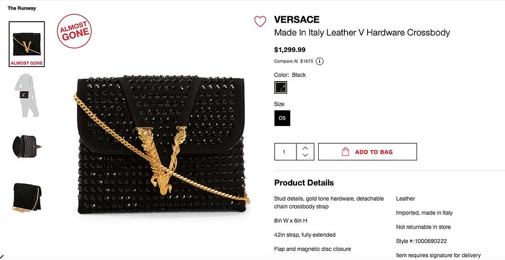 VERSACE Leather V Golden Hardware Crossbody $1,299.99