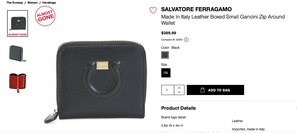 SALVATORE FERRAGAMO Made In Italy Leather Boxed Small Gancini Zip Around Wallet  $369.99