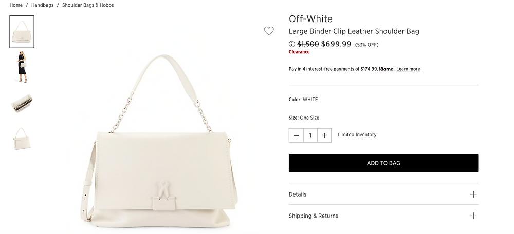 Off-White Large Binder Clip Leather Shoulder Bag  $699.99 (53% OFF)