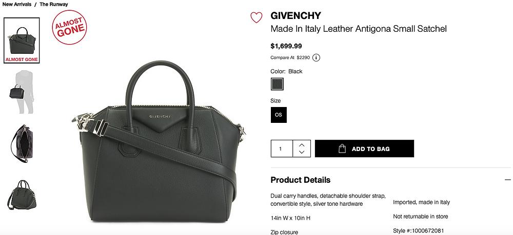 GIVENCHY Made In Italy Leather Antigona Small Satchel  $1,699.99