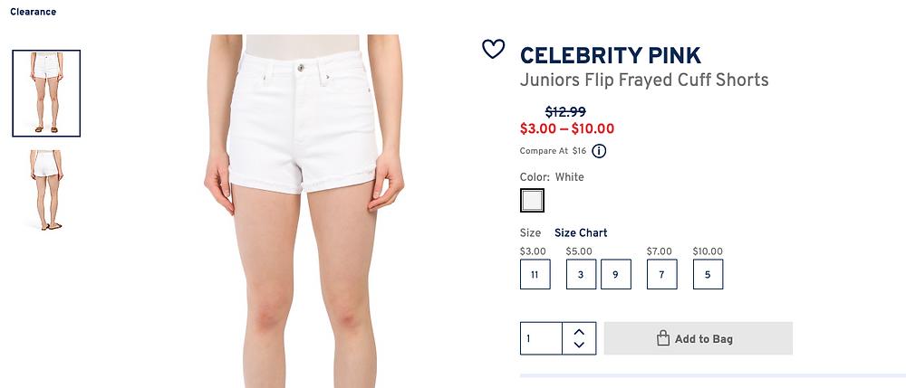 CELEBRITY PINK Juniors Flip Frayed Cuff Shorts $3.00 — $10.00
