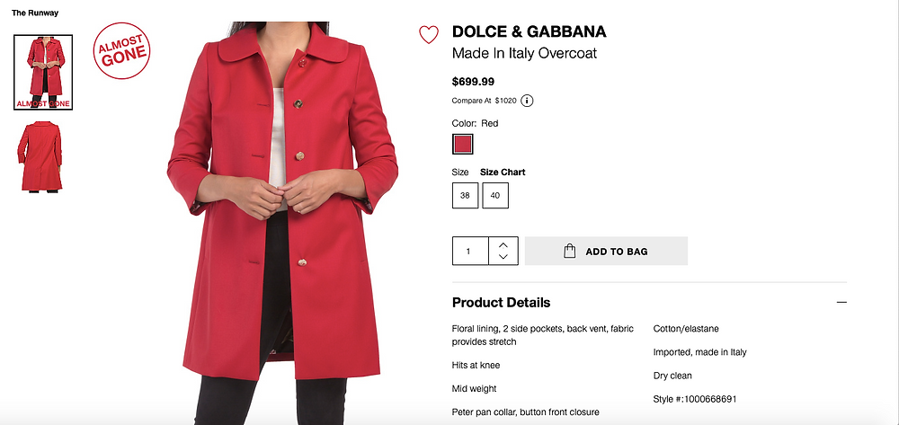 DOLCE & GABBANA Made In Italy Red Overcoat $699.99