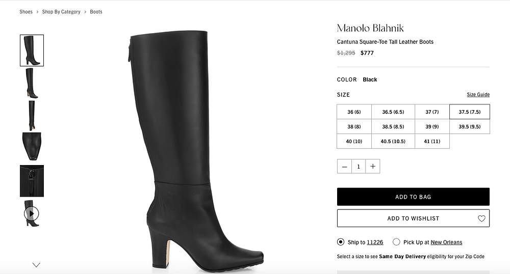 Manolo Blahnik Cantuna Square-Toe Tall Leather Boots Price reduced from $1,295 to $777