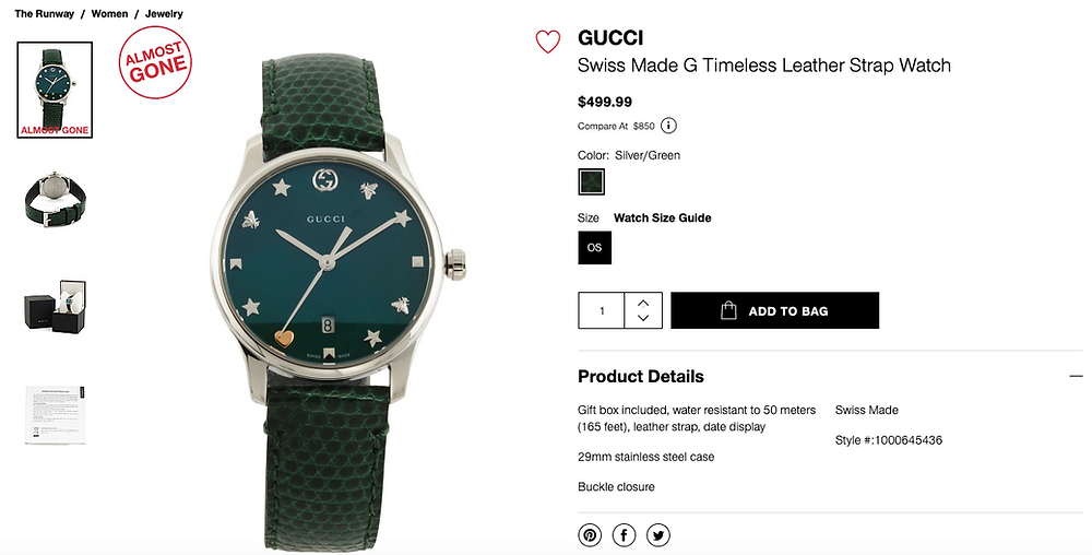 GUCCI Swiss Made G Timeless Leather Strap Watch $499.99