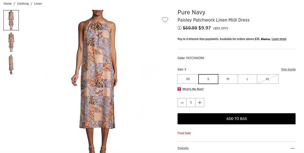 Pure Navy Paisley Patchwork Linen Midi Dress  $9.97 (85% OFF)