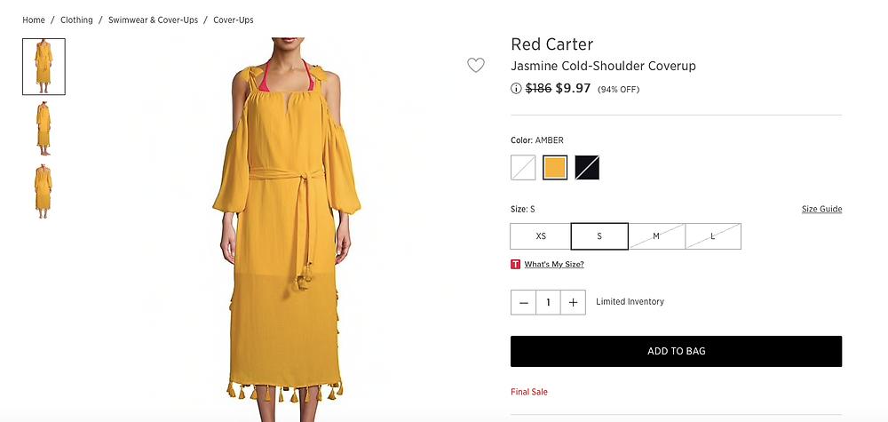 Red Carter Jasmine Cold-Shoulder Coverup  $9.97 (94% OFF)
