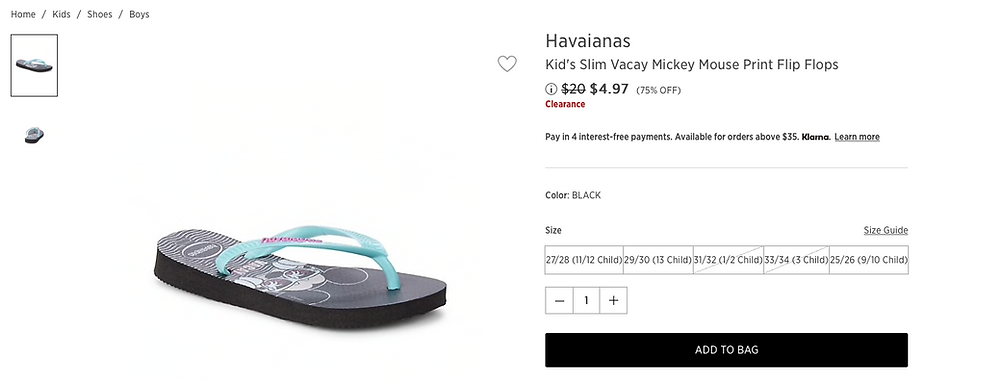 Havaianas Kid's Slim Vacay Mickey Mouse Print Flip Flops $4.97(75% OFF)