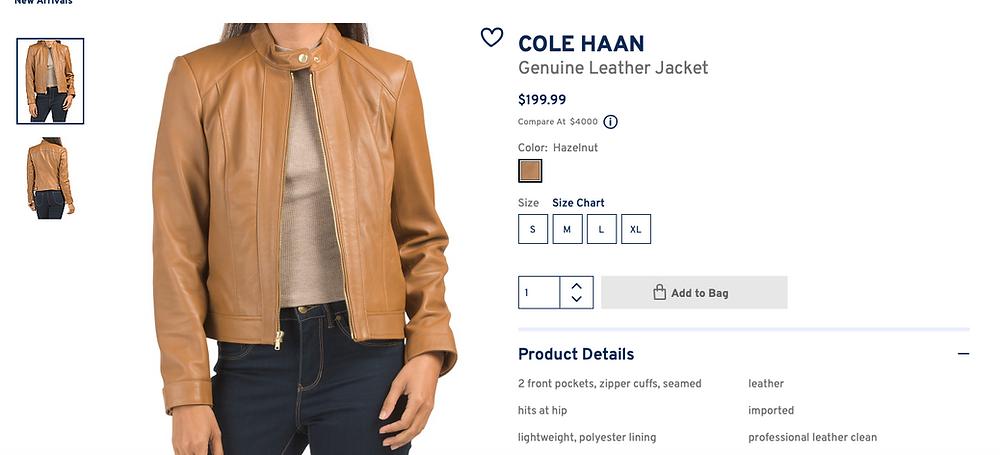 COLE HAAN Genuine Leather Jacket  $199.99