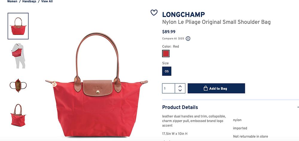 LONGCHAMP Nylon Le Pliage Original Small Shoulder Bag  $89.99