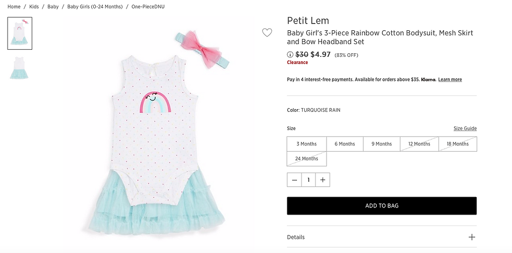 Petit Lem Baby Girl's 3-Piece Rainbow Cotton Bodysuit, Mesh Skirt and Bow Headband Set Price reduced from $30to $4.97 (83% OFF)