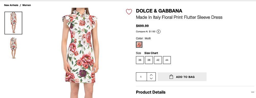 DOLCE & GABBANA Made In Italy Floral Print Flutter Sleeve Dress  $699.99