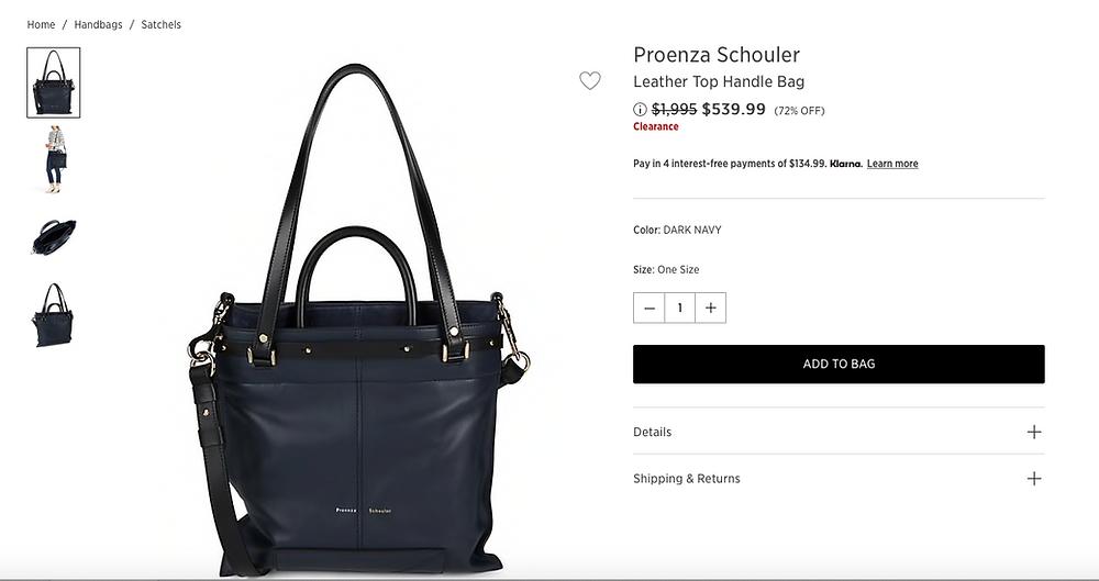 Proenza Schouler Leather Top Handle Bag  $539.99 (72% OFF)