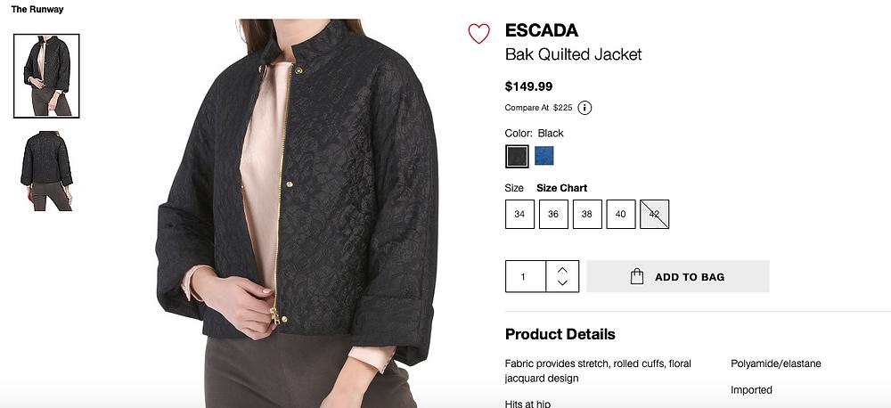 ESCADA Bak Quilted Jacket  $149.99