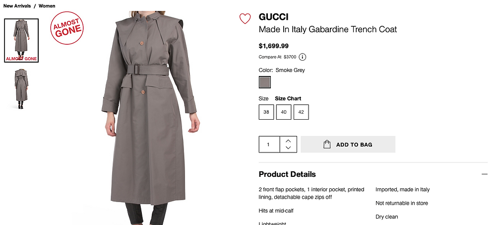 GUCCI Made In Italy Gabardine Trench Coat  $1,699.99