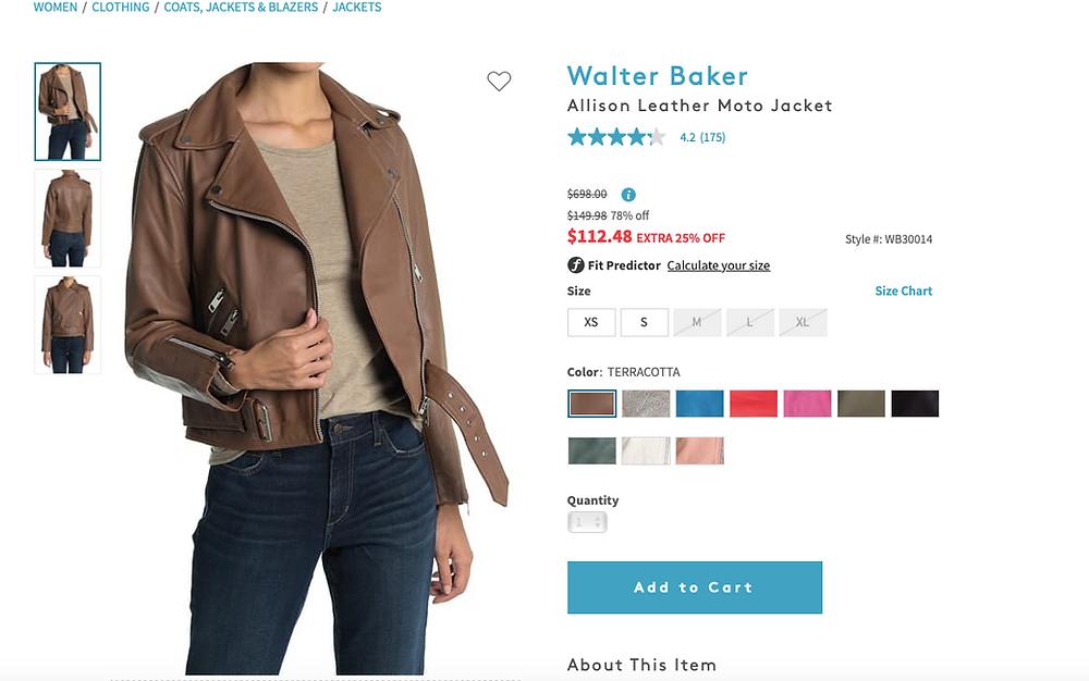 Walter Baker Allison Leather Moto Jacket  $112.48