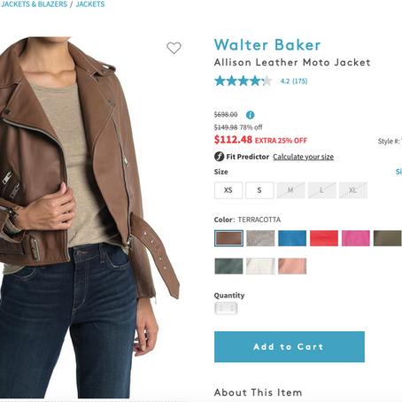 Walter Baker Leather Moto Jacket 84% Off For $112.48