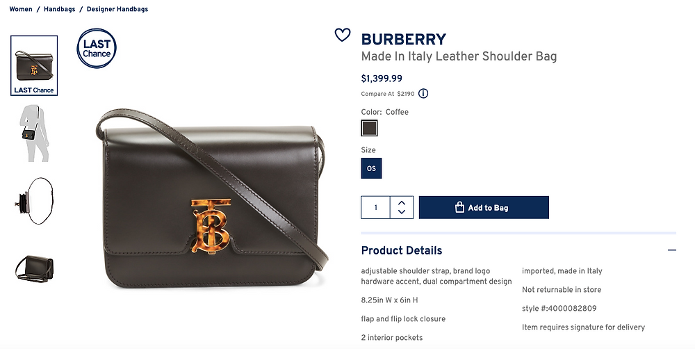 BURBERRY Made In Italy Leather Shoulder Bag
