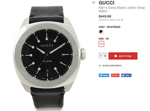 GUCCI Men's Swiss Made Leather Strap Watch
