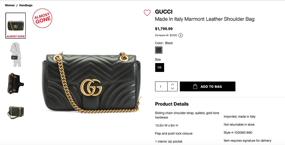 GUCCI Made In Italy Marmont Leather Shoulder Bag  $1,799.99